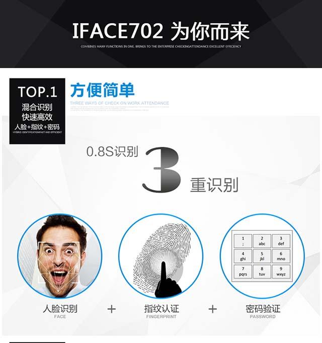 zkteco中控智慧iFace702人脸识别考勤机功能展示速度快