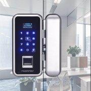 办公室玻璃门智能指纹锁安装